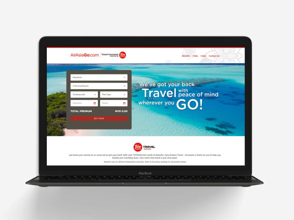 Tune Protect Travel Insurance Website